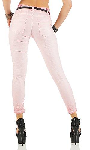 ZARMEXX 10912 donne pantaloni larghi Fidanzato Jeans Jeggings Stretch Chino Cintura Lettera farfalla -Stampa altrosa