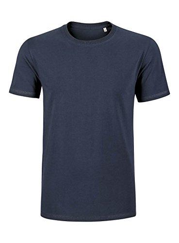 YTWOO Herren Basic Premium T-Shirt Rundausschnitt (200g/m2) Bio-Baumwolle Schwarz und Navy nachhaltige und faire Mode Organic Cotton, GOTS Navyblau