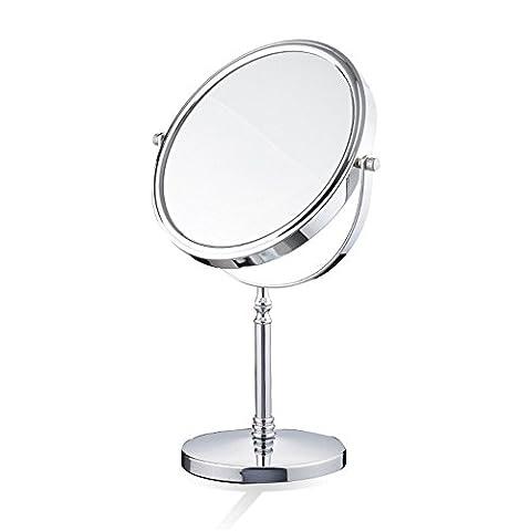 Miroir de maquillage métallique Manteau double face Miroir beauté 360 degrés Rotation 3 X Magnification Vanité Rétroviseurs cosmétiques Rétroviseur,6 pouces 15 * 11.8 * 30cm