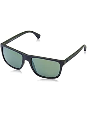 Emporio Armani Unisex-Erwachsene Sonnenbrille 4033, Schwarz (Top Blue On 56156r), 56
