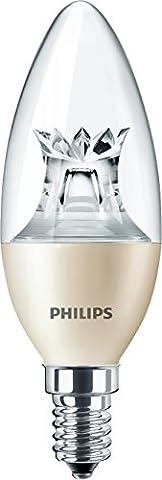 Philips Lot de 10Dimmable E14SES Bougie Dim Tone 6W = 40W E14B38Transparent 2200–25000Heures Blanc chaud 2700K vie de remplacement Idéal pour les ampoules Philips EcoClassic Candle. Master ledcandles–Design attrayant pour les lustres et autres décoratifs CODE de commande: 45368100Nom du produit: Master Ledcandle DT 6–40W