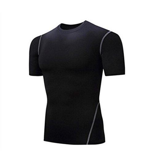 Herren Shirt, Core Athletic Schnelltrocknend Muskelshirt für Sport Gym Fitness & Bodybuilding Schwarz Größen s-XXXL (XXL)