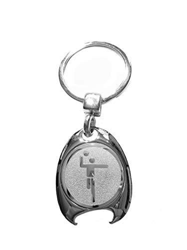 Handball Motiv Schlüsselanhänger, silberfarben, in eleganter Geschenkbox mit Einkaufswagenchip und Flaschenöffner   Geschenk   Männer   Frauen   Sport   Chip   Einkaufschip   Öffner