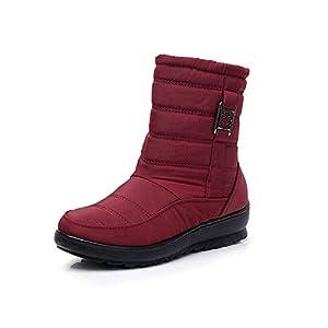 FJJLOVE Frauen Winter Schnee Stiefel wasserdichte Anti-Rutsch-Außen Ankle Booties Slip on Warm Pelzfutter Sneaker Side Zipper beiläufige Wanderschuhe