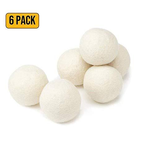Sdgfd Bolas de Secadora para secadoras, Paquete de 6 Bolas de Lana, Extra Grande, el suavizante de Telas...