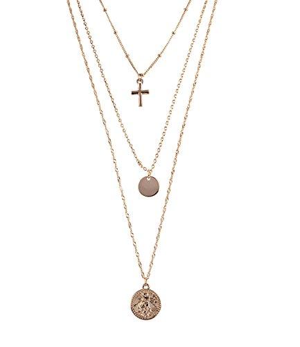TOSH Kette - Damen Kette, dreireihig, Kreuz Anhänger, Metallplättchen, Medaille, Münze, antike Frauenfigur, goldfarben (362-606)