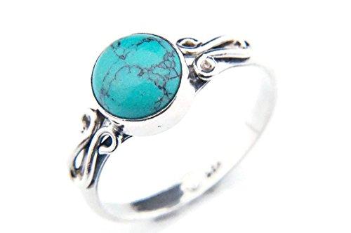 Ring Silber 925 Sterlingsilber Türkis blau grün Stein (MRI 60), Ringgröße:56 mm/Ø 17.8 mm