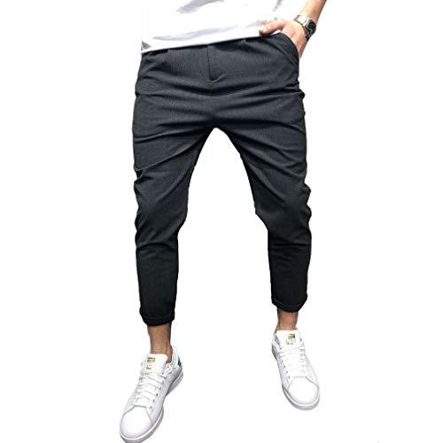 Männer-Beiläufige Jogger-Hosen-Knöchel-Längen-Gerades Bein-Bequeme Normallack-Hose Schwarz M - Knöchel Hose