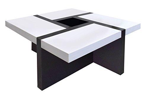 Tavolini In Legno Bianco : Rebecca srl tavolino salotto quadrato legno bianco nero moderno