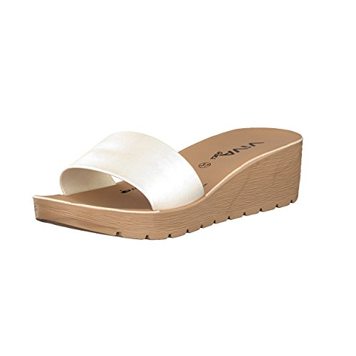 Brandsseller Damen Pantolette Sandale Schuhe Flach - Uni Metallic - Farbe: Schwarz - Größe: 41 Rfzzqu5Cga