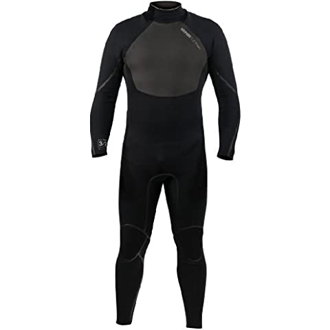 Hyperflex Wetsuits Men's 3.2-mm Amp-3 Back Zip Fullsuit (Black, X-Small) - Surfing, Windsurfing & Wakeboarding