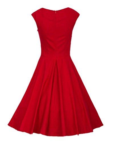 Eyekepper Damen 50'S Vintage Wrapped Chest Peony Druck-Schwingen-Kleid Rot