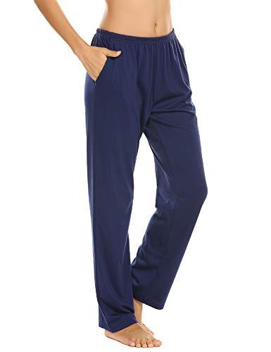 Damen Schlafanzughose Pyjamahosen Schlafanzug Hose Lang Jerseyhose Schlafhosen Unifarbe Freizeithosen Hausehose mit Zwei Taschen Blau S