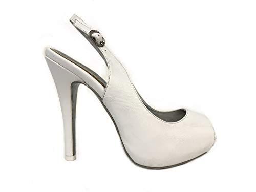 Spuntato Sandalo Bianco Sposa Elegante Scarpe Tacco Alto Plateau  Particolare Cerimonia Donna Scarpa Matrimonio Bride Shoes bbaf02081a3