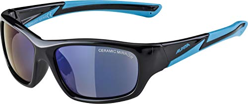 Alpina Kinder Sonnenbrille FLEXXY YOUTH Sportbrille, Black-Cyan, One Size