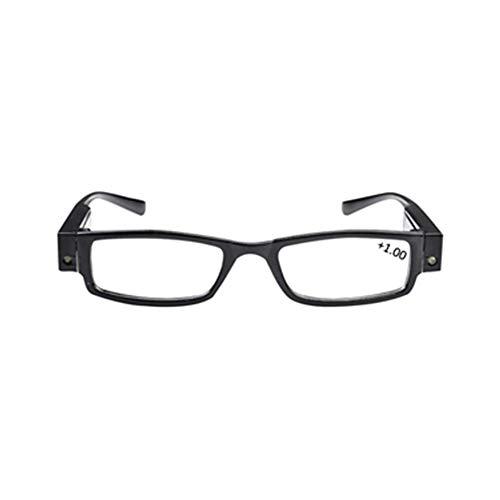 Gaodaweian Universal Black Illuminated Led Lesebrille Rechteckige presbyopische Brille Kunststoffrahmen mit Led-Licht Lampe Leistung/Dioptrien für Unisex Old Woman Man (Size : 150)