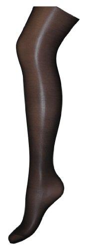 Schwarz Lycra Sheer (Satin Sheer Luxury Glanz-Strumpfhose, Farbe:Schwarz;Größe:44-46 (XL))