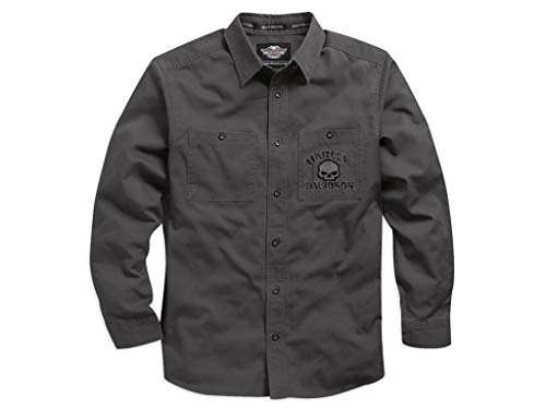 HARLEY-DAVIDSON Skull Garage Long Sleeve Shirt Hemd, 99027-17VM, L (Harley Garage Shirt)