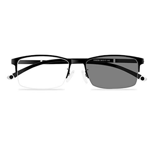 Lesebrille Progressive Multifokale Half-Frame Reader Metallrahmen mit Etui Weitsichtige UV-Sonnenbrille +1.0 bis +3.0 (+1.5, Schwarz)