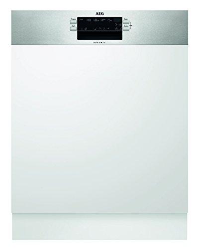 AEG FES5260AZM Geschirrspüler (teilintegriert) mit Softspikes / A++ / sparsamer Einbaugeschirrspüler dank Beladungserkennung mit Programmautomatik und Wassersensor / Spülmaschine mit Antifingerprint-Edelstahl / silber und weiß