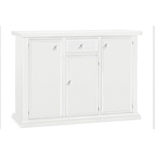 Milanihome credenza bianca 120 x 40 x 88 per interno sala da pranzo salotto cucina ufficio massello arte povera