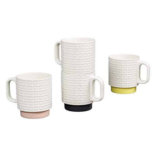 Orla Kiely OK601 Lot de 4 mugs empilables Motif fleurs Crème