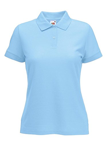 Fruite of the Loom Damen Lady-Fit 65/35 Pique Polo Shirt, vers.Farben Blau - Sky