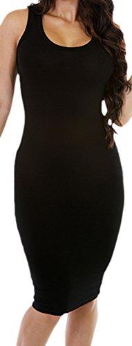 erdbeerloft - Damen figurbetontes Basic Kleid, mittellang, Rundhals- Ausschnitt, 34-40, Viele Farben Schwarz