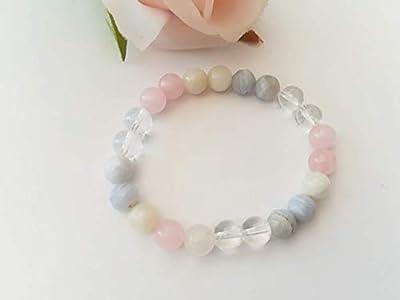 bracelet de grossesse, cadeau femme enceinte, pierre de lune, quartz rose, calcedoine, Babyshower,fête prénatale