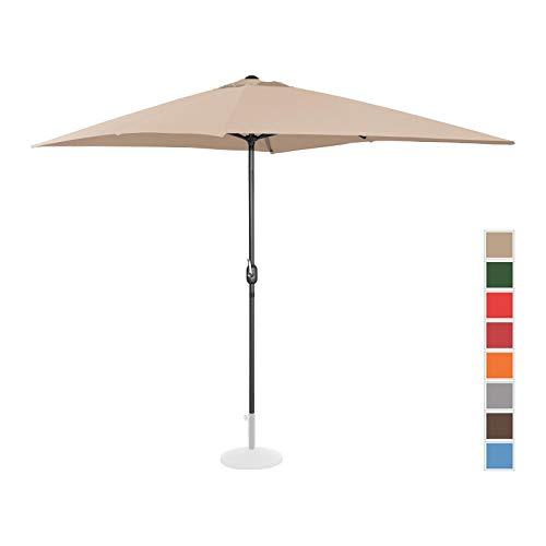 Uniprodo Parasol De Terrasse Droit Grand Jardin Protection Solaire UNI_Umbrella_SQ2030CR (Crème, Rectangulaire, 200 x 300 Cm, Acier, Alu, Polyester Haute Densité 180g/m2)