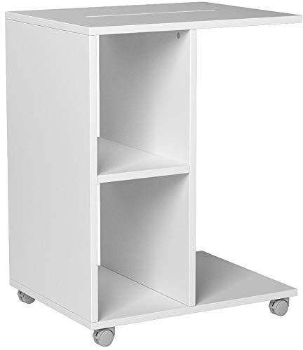 SoBuy® FBT48-W Beistelltisch mit Schlitz für iPad, Zeitungsständer Couchtisch Tisch mit Rollen weiß BHT ca: 45x58x35cm