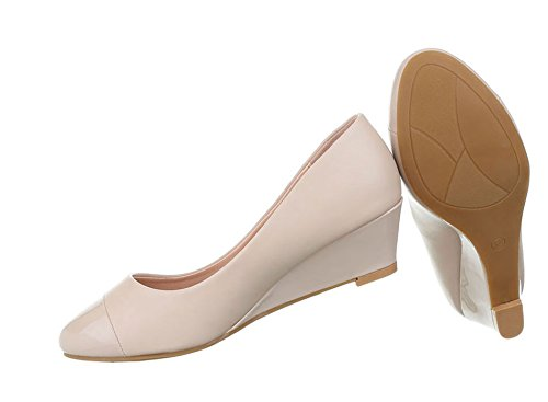 Damen Pumps Schuhe Elegant High Heels Keil Wedges Beige