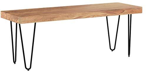 FineBuy Esszimmer Sitzbank Massiv-Holz Akazie 120 x 45 x 40 cm Design Holz-Bank Natur-Produkt Küchenbank Landhaus-Stil dunkel-braun Bank 3-Sitzer für innen ohne Rücken-Lehne Echt-Holz unbehandelt