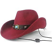 SCSY-Sombrero Mujeres Hombres Lana Vacuo Westerly Sombrero de Vaquero  Sombrero de Copa Sombrero de 87ee5525267