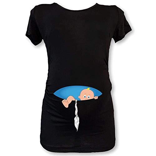 T shirt maglia premaman nera bimbo fune grafica azzurra s manica corta