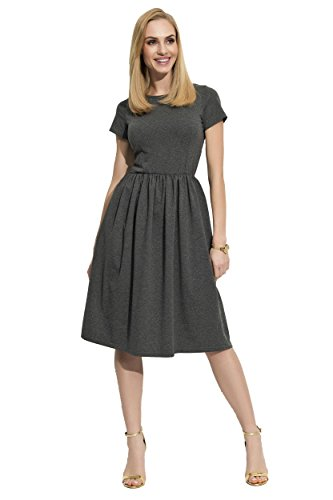 a9d8e107b2fe Damen Mittellanges Kleid Abendkleid Elegant Kurzarm Glockenkleid Gr. S M L  XL, F17 Grafit