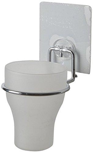 Compactor Bath RAN6854 Porte-Brosses à Dent Repositionnable SEBS/PET/PC/PP/Acier Chromé Blanc/Argenté 8,5 x 11 x 20 cm