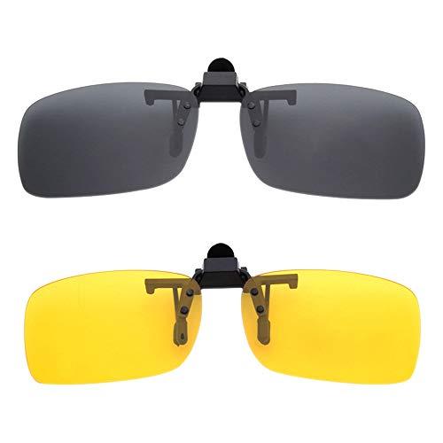 BOZEVON Clip auf Sonnenbrillen - Herren/Damen Flip-Up Polarisierende Sonnenbrillen Nachtsichtgläser Fit Over Brillenträger für Autofahren und Außenbereich, 1 * Grau & 1 * Gelb - M