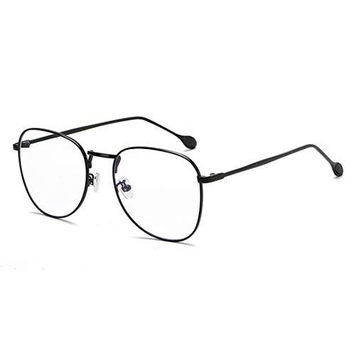Mkulxina Anti-Blaue Brillengestell Retro Männer und Frauen Brillengestell gefälschte Brillen für Frauen (Color : Black)