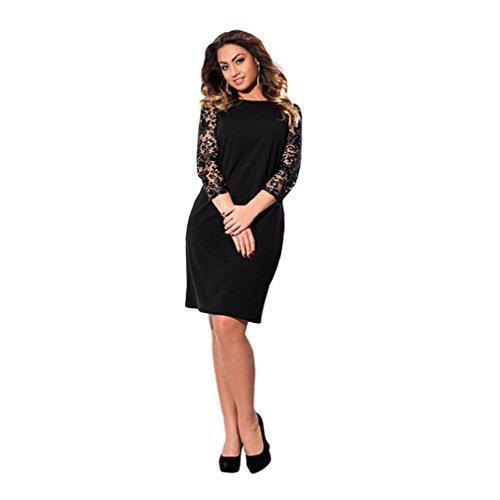 Size Plus Damen-abendmode (Kanpola Kleider Damen Plus Size Spitzenkleid mit Dreiviertelärmeln beiläufige lose Partykleid)