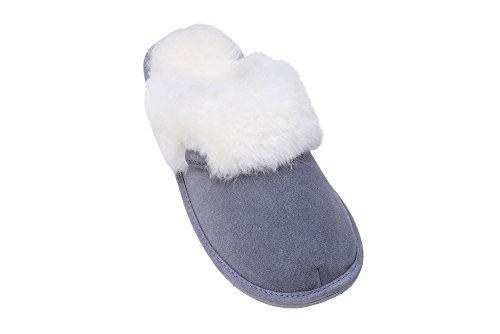 Femmes Luxe Peau De Mouton Pantoufles Chaussons Avec Double Chaud Laine Manchette Gris/Blanc