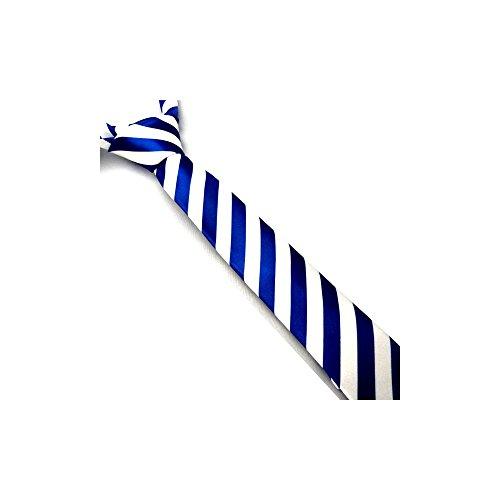 Corbata Estrecha de Rayas Blanca y Azul