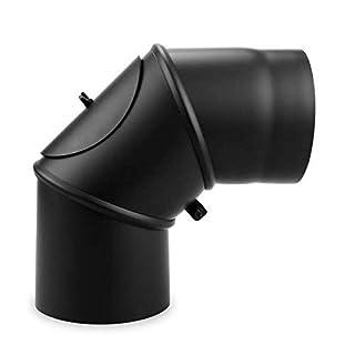 EHV Ø 150 mm - Bogen drehbar 0° - 90° mit Tür Schwarz