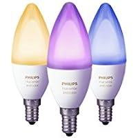 Philips Hue Lot de 3 Ampoules connectées White and Color E14 - Fonctionne avec Alexa