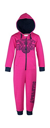 ONEZEE Girls All-in-One Hooded Pyjama Jumpsuit with Logo