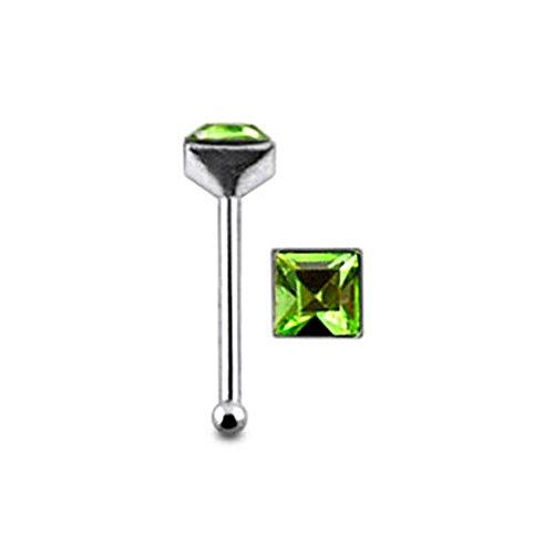 Quadratische hellem Grün Crystal Stein Top 22 Gauge 925 Sterling Silber Nase Knochen Stud Piercing