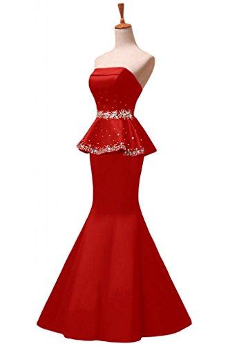Sunvary elegante, con strass, motivo: sirena senza spalline abiti da sera o da cerimonia, con diamanti Red