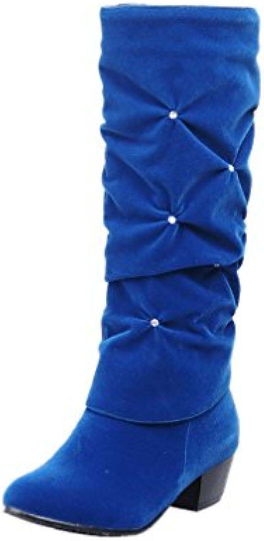 Xianshu Damen Strasssteine Stiefel Alle Blockieren Mittleres Kalb Anziehen Stiefel -