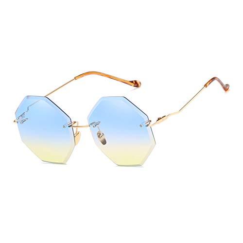 Yuanz occhiali da sole senza montatura donne retro lenti sfumate in metallo occhiali da sole poligonali per donne uv400 oculos,c02