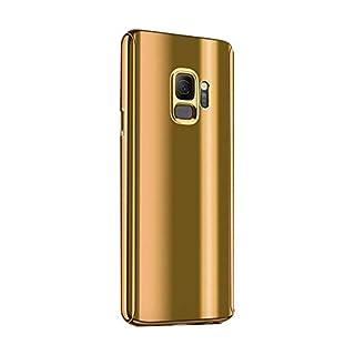 Fantasyqi Kompatible mit Galaxy J7 2017 / J730 2017 / J730F / J7 Pro Hülle Mirror Ultra Dünner Überzug PC Harte Handyhülle 360 Grad Ganzkörper Schützend Anti-Kratze Mode Glänzend Spiegeln(Gold)
